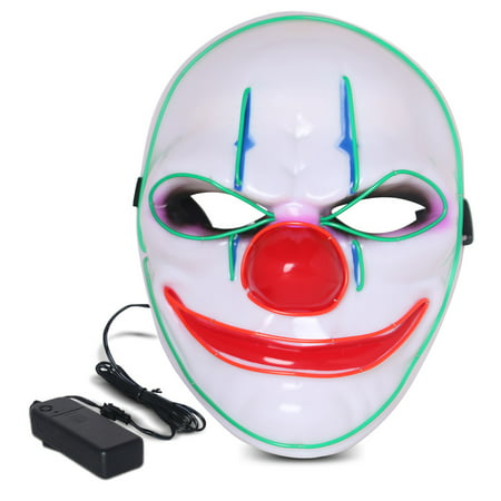 Halloween LED Mask Purge Masks with Lighten EL Wires Scary Light Up Cosplay Costume Mask Battery-operated Glowing Creepy Mask Clown