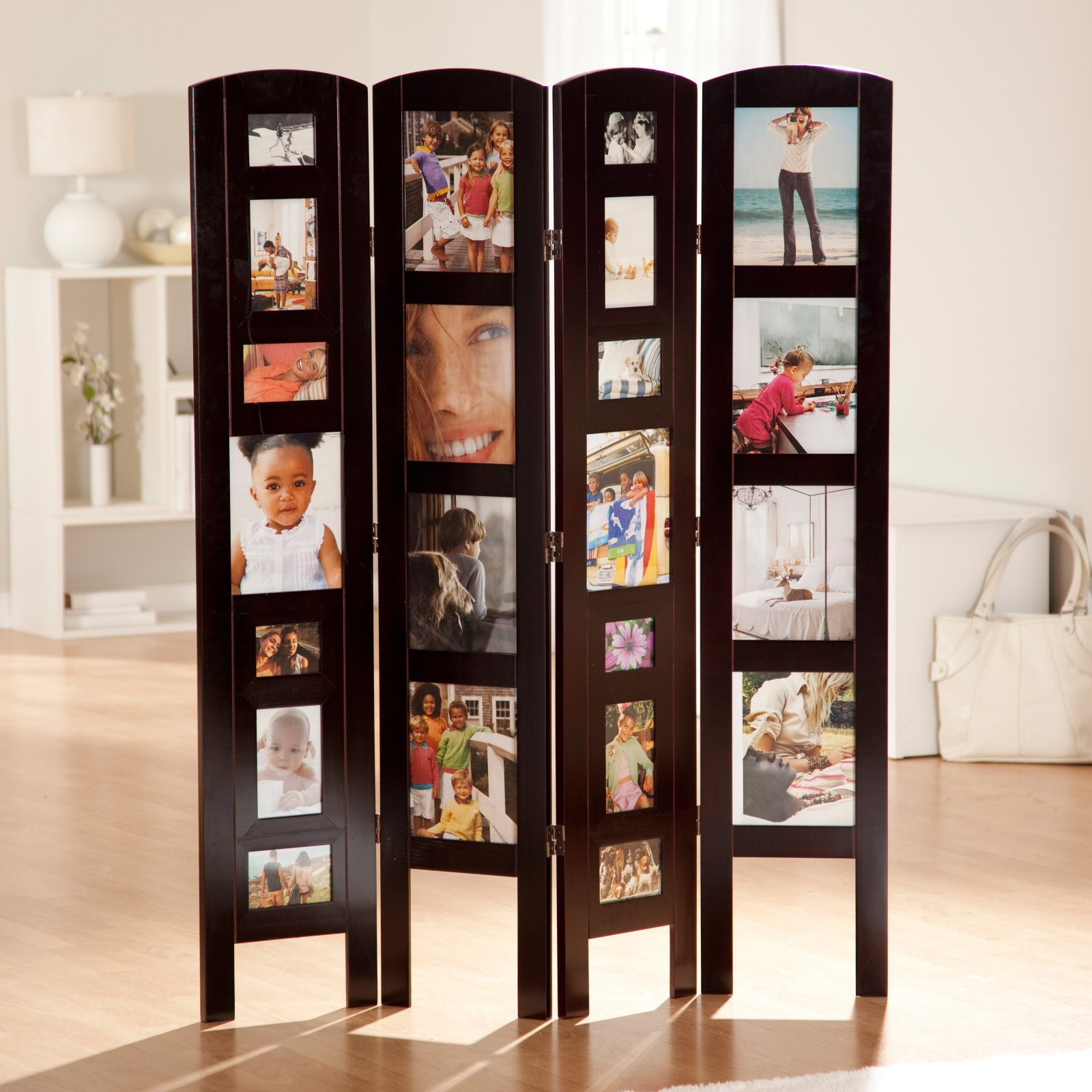 Memories Photo Frame Room Divider - Rosewood 4 Panel