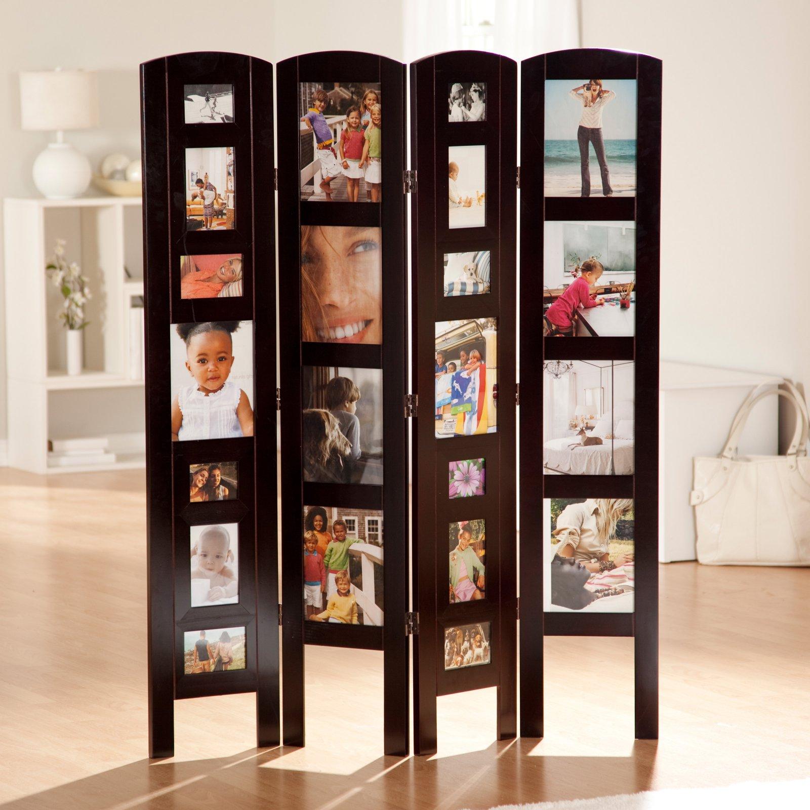 Memories Photo Frame Room Divider - Rosewood 4 Panel