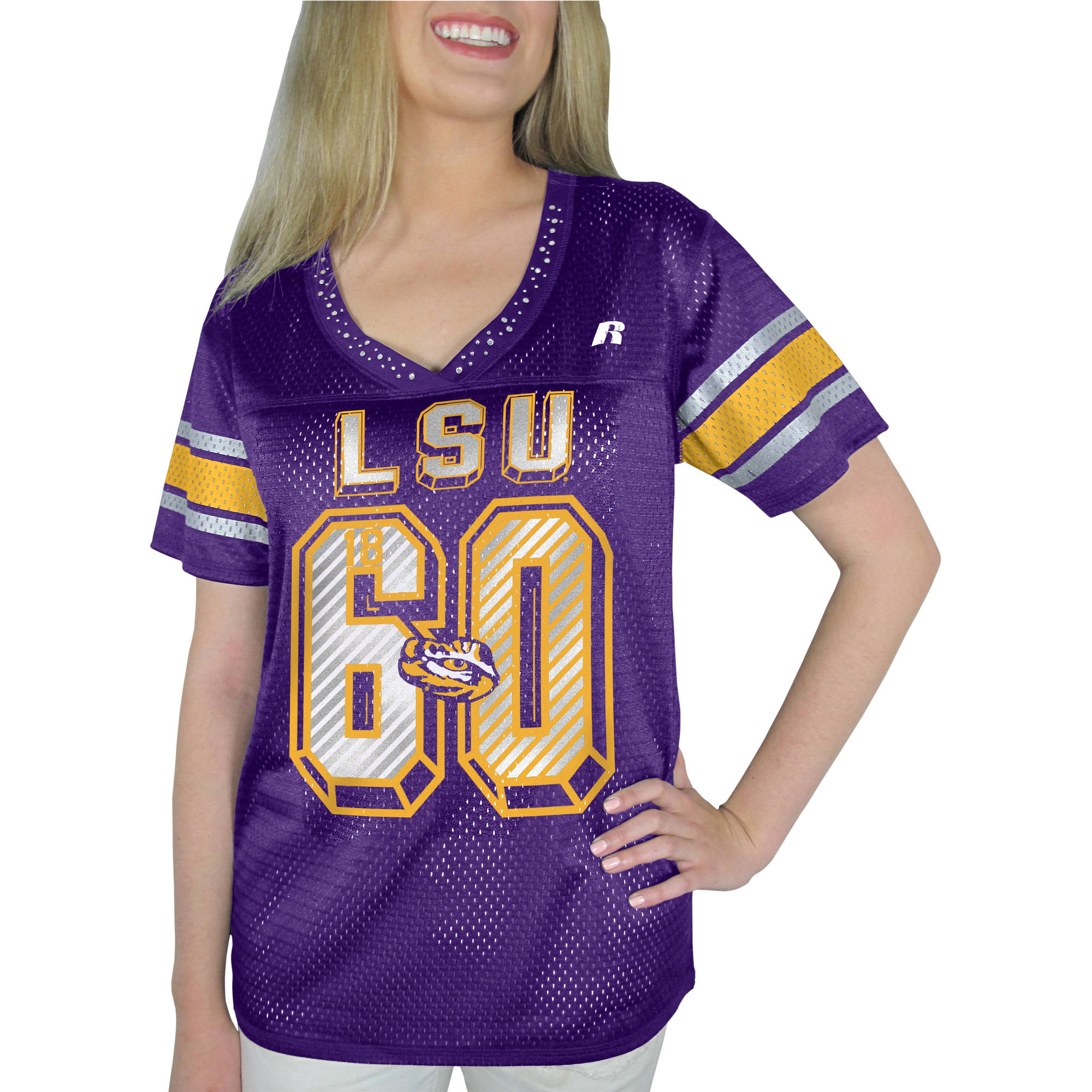 Russell NCAA LSU Tigers, Women's Heather V-neck Game Jersey