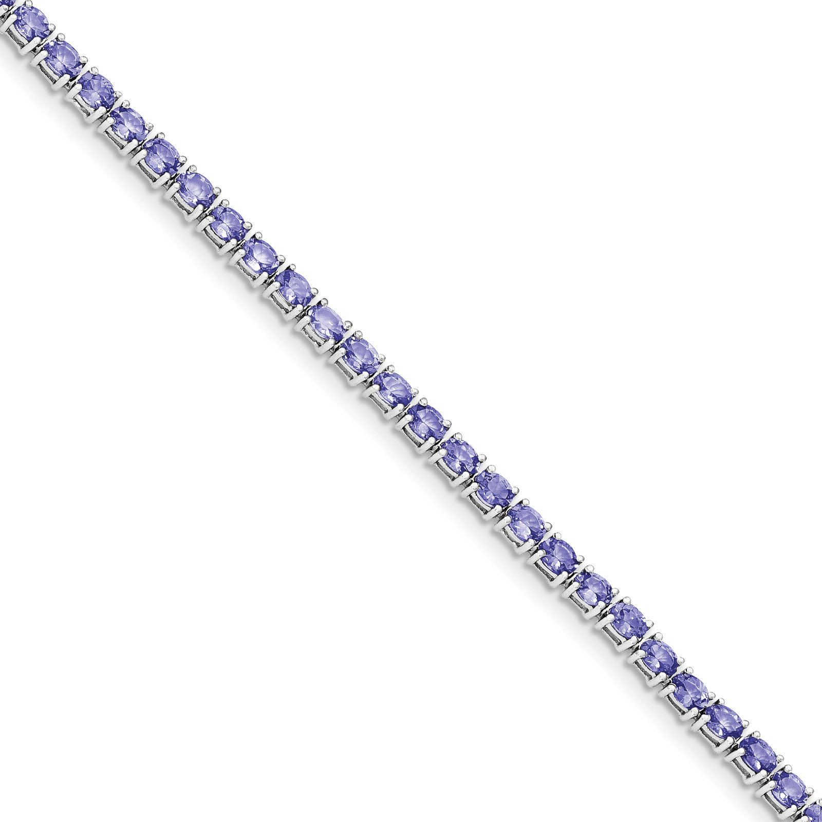 Sterling Silver Oval Tanzanite 7.5in Bracelet by