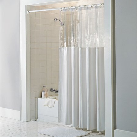 See Through Top Clear/White Vinyl Bath Shower Curtain 72\