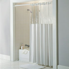 See Through Top Clear White Vinyl Bath Shower Curtain 72 X