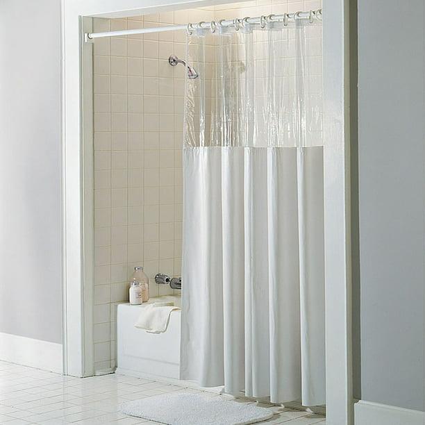 See Through Top Clear White Vinyl Bath Shower Curtain 72 X 72 Walmart Com Walmart Com