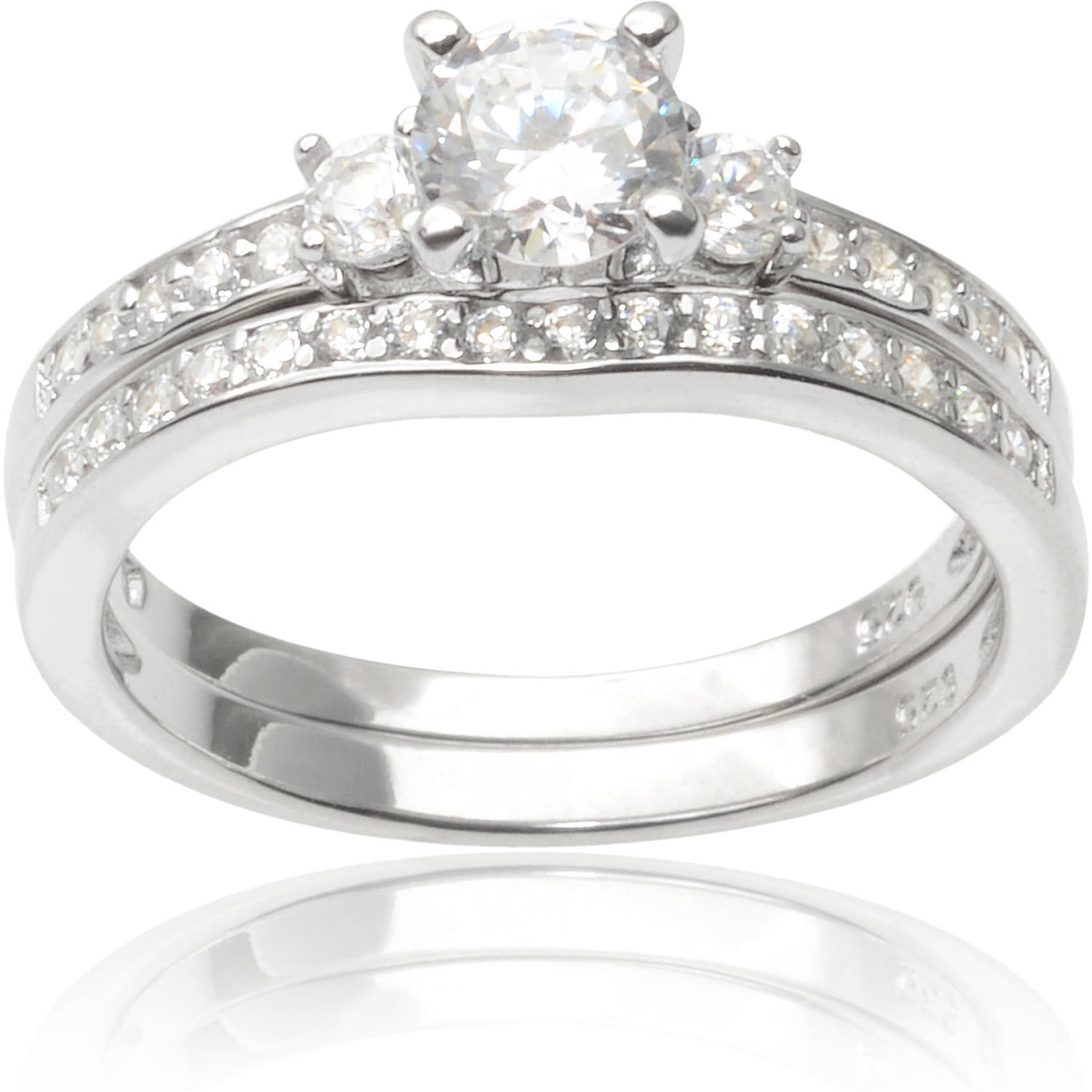 Alexandria Collection Sterling Silver 1-1/10 Carat T.G.W. Round Cubic Zirconia Bridal Ring Set