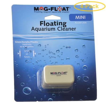 Mag Float Floating Magnetic Aquarium Cleaner - Acrylic Mini (10 Gallon Aquariums) - Pack of 4 ()