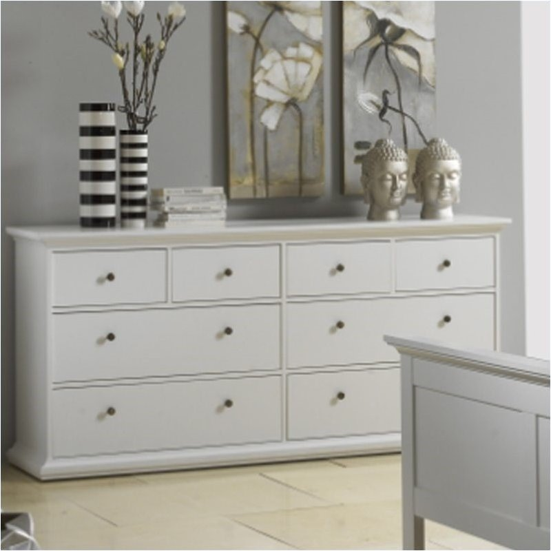 Pemberly Row 8 Drawer Double Dresser in White