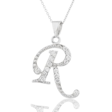 Ladies Real 925 Sterling Silver 'Letters of the Alphabet' Pendant with Cz Stones and an 18 Inch Link Necklace - Letter Links