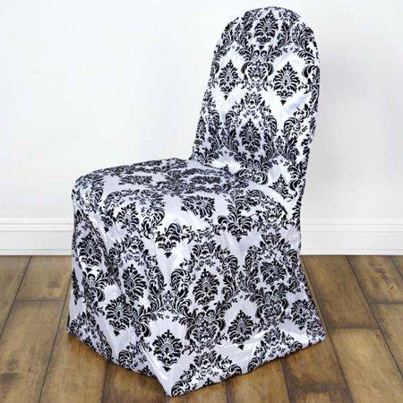 6 Black Velvet Flocked Jewelry (Damask Velvet Flocking Wedding Banquet Chair Covers, Black )