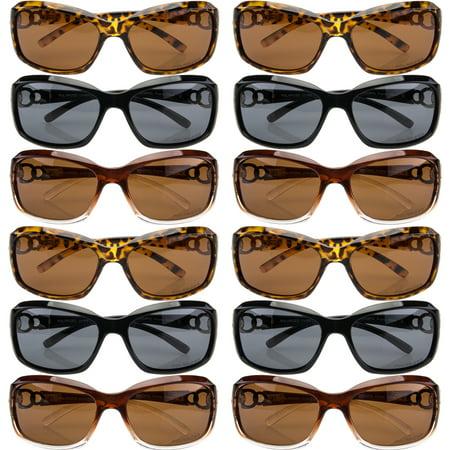 - 12 Pairs Womens Vox Assorted Designer Polarized Plastic Sunglasses 100% UVA UVB