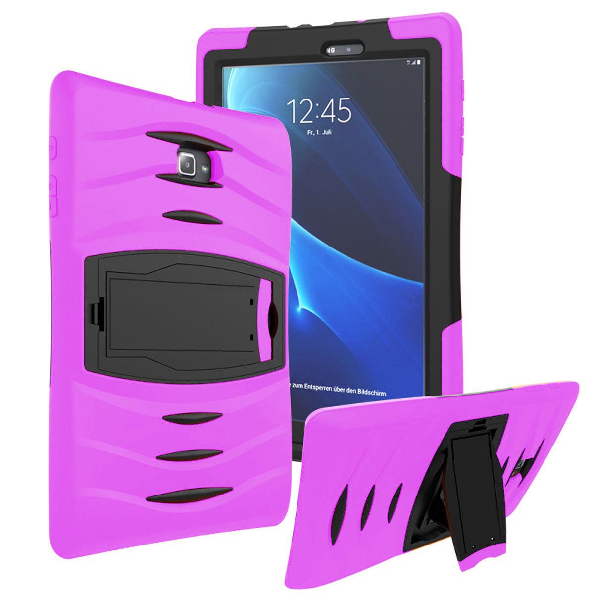 Galaxy Tab E 9.6 Case Cover by KIQ Shockproof Heavy Duty Armor Kickstand Screen Protector [SM-T560, SM-T561, SM-T560NU, SM-T560NZ] (Black)