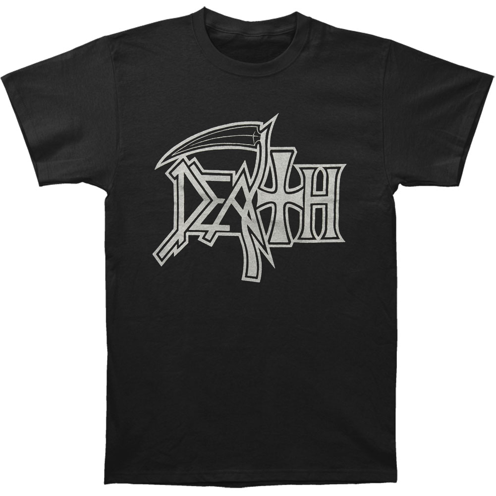 Death Men's  New Logo Silver On Black T-shirt Black