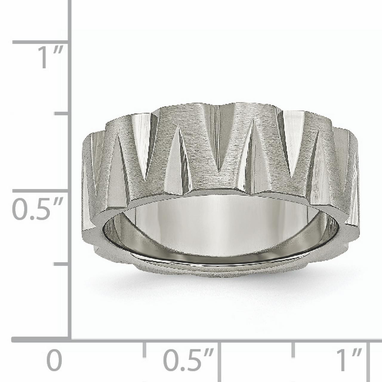 Titanium Notched 8mm Wedding Ring Band Size 7.00 Fancy Fashion Jewelry Gifts For Women For Her - image 1 de 6