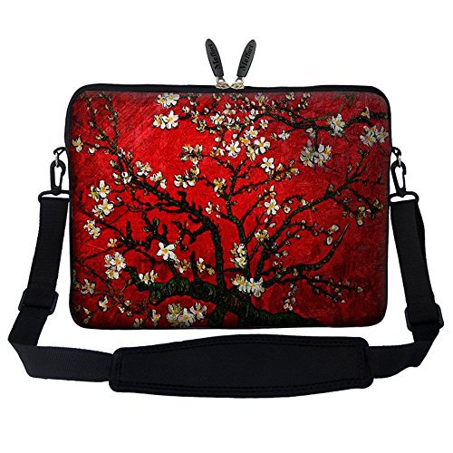 Meffort Inc 15 15.6 inch Neoprene Laptop Sleeve Bag Carrying Case with Hidden Handle and Adjustable Shoulder Strap - Vincent van Gogh Cherry Blossoming