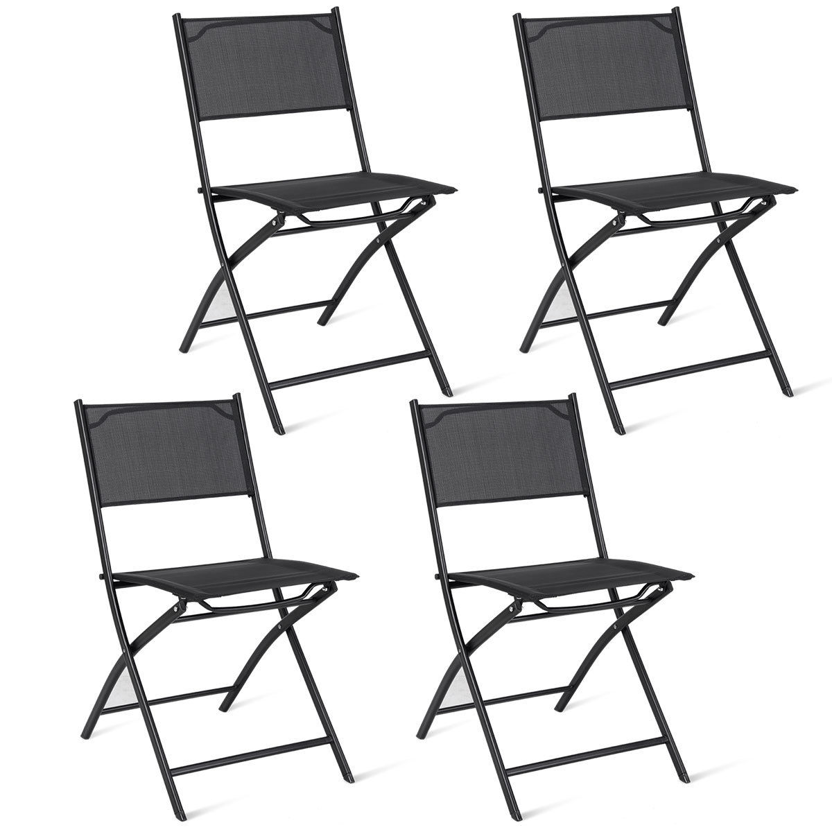 Costway Set of 4 Outdoor Patio Folding Chairs Camping Deck Garden Pool Beach Furniture