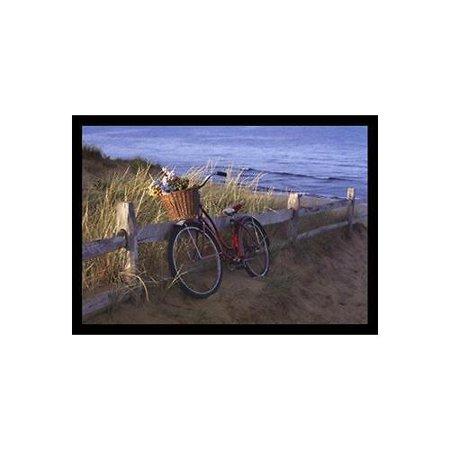FRAMED Beach Petals by Marcia Joy Duggan 17x12 Photograph Art Print Poster Beach Ocean Seaside Red Bicycle Flowers Basket Bike Dunes Fence