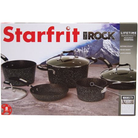 THE ROCK by Starfrit 030930-001-0000 8-Piece Cookware Set with Bakelite Handles