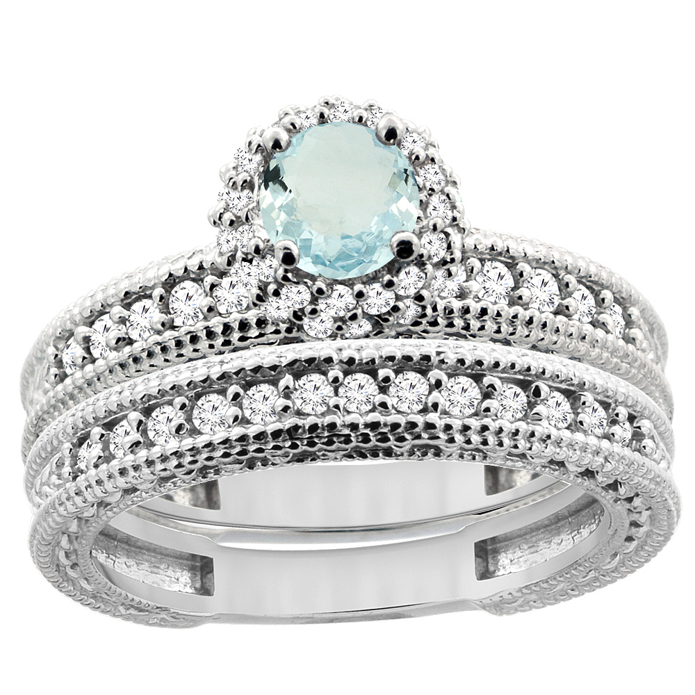 14K White Gold Diamond Natural Aquamarine Round 4mm Engagement Ring 2-piece Set, size 6 by Gabriella Gold
