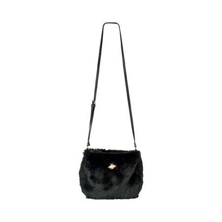 - Women's San Diego Hat Company Crossbody Fur Handbag with Bug Detail BSB3546 Black OSFA