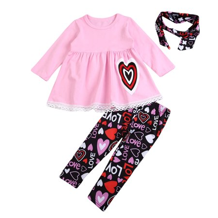 Toddler Baby Girl Long Sleeve Love Print Ruffles Dress Tops Pants Leggings with Headband 3PCS Outfit Clothing Set for $<!---->