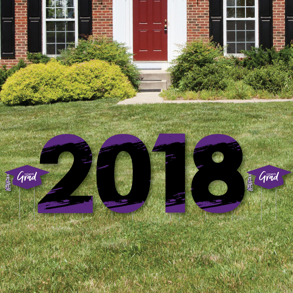 Purple Grad - Best is Yet to Come - 2018 Yard Sign Outdoor Lawn Decorations -  Graduation Party Yard Signs
