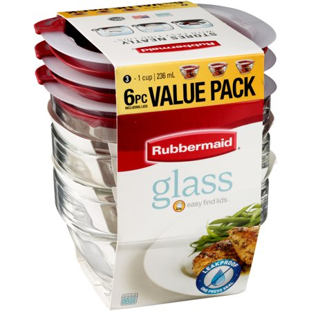 Rubbermaid 174 Glass Containers With Easy Find Lids 6 Pc