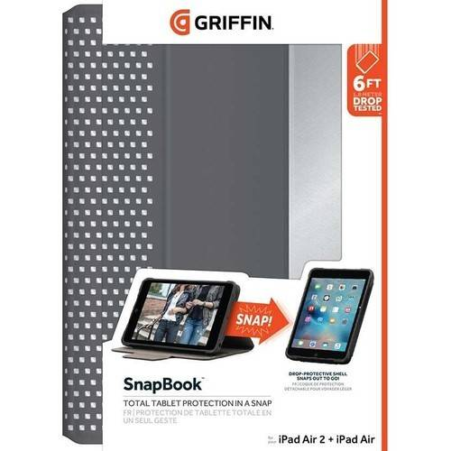 "Griffin SnapBook Multi-Position Folio Case for Apple iPad Air/Air 2/Pro 9.7"", Nickel"