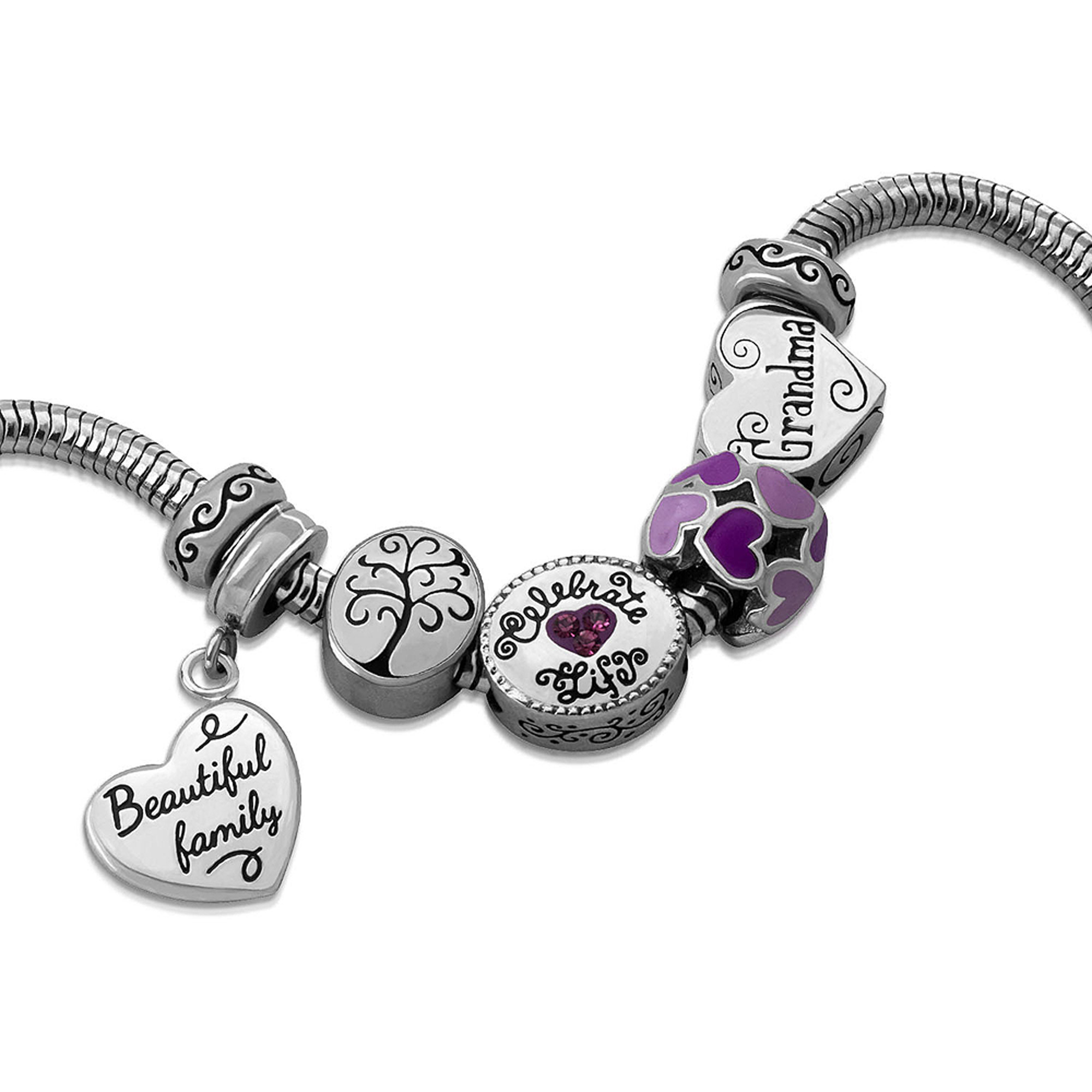 Connections from Hallmark Stainless Steel Limited Edition Grandma Charm Bracelet Set