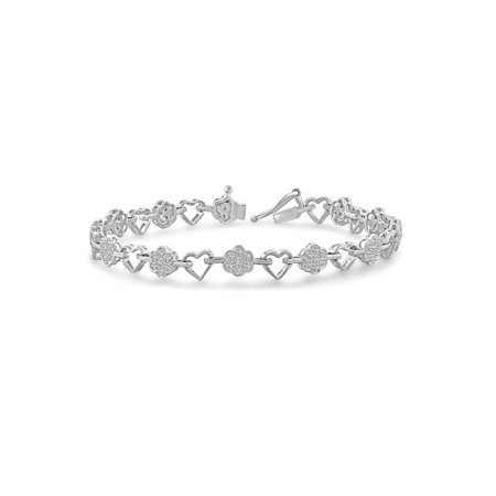 White Diamond Accent Sterling Silver Heart and Flower Bracelet, 7.25 (Plumeria Flower Diamond Bracelet)