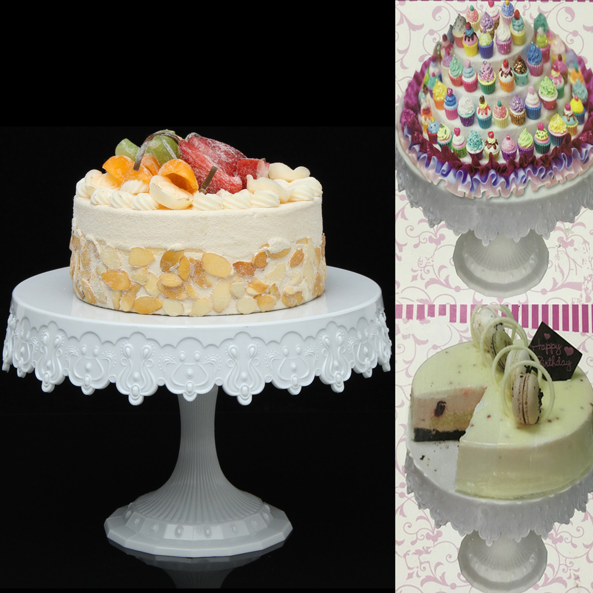 Plastic Cake Stand Round Cake Shelf Rack Holder For Wedding Party Cake Dessert Serving Tools Decoration European Style (Size: 222*150mm)