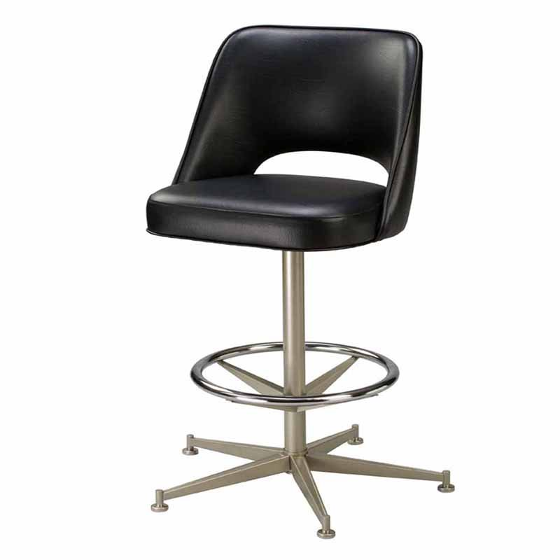 Regal Bucket Seat with Cut Out Back 30 in. Rod Frame Metal Bar Stool