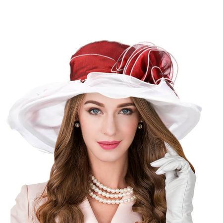 Womens Organza Sun Hat-Pretty See Womens Organza Sun Hat Kentucky Derby Organza Floral Hat Wide Brim Dress Wedding Tea Party Beach Summer Hat