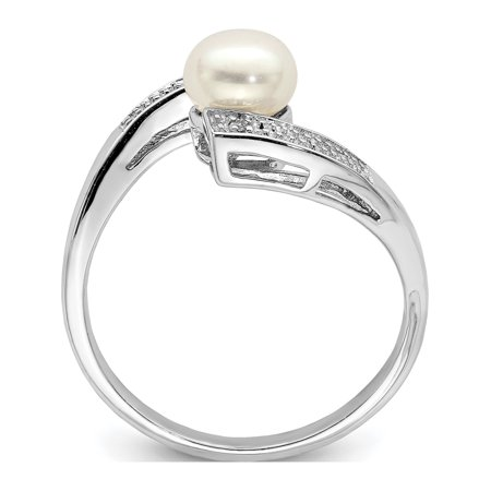 Sterling Silver Rhodium Plated Diamond and FW Cultured Pearl Ring - image 2 of 3