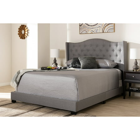 new concept e068a f163e Baxton Studio Alesha Modern and Contemporary Grey Fabric Upholstered King  Size Bed