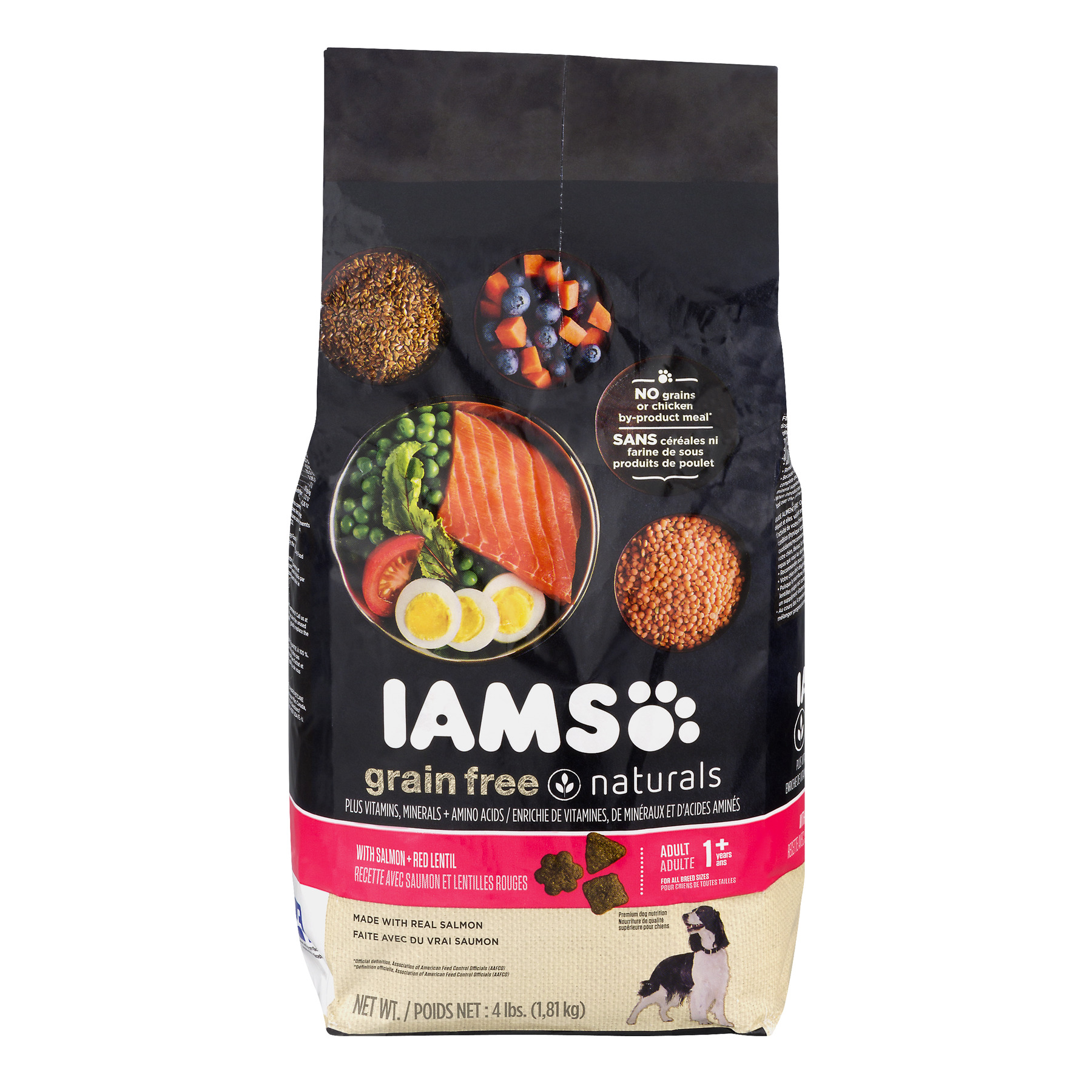 Iams Grain-Free Naturals Premium Dog Food, With Salmon + Red Lentil 1 + Years, 4.0 Lb