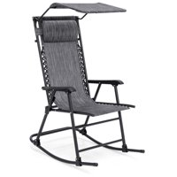 Best Choice Products Foldable Zero Gravity Rocking Patio Chair w  Sunshade Canopy Gray by Best Choice Products