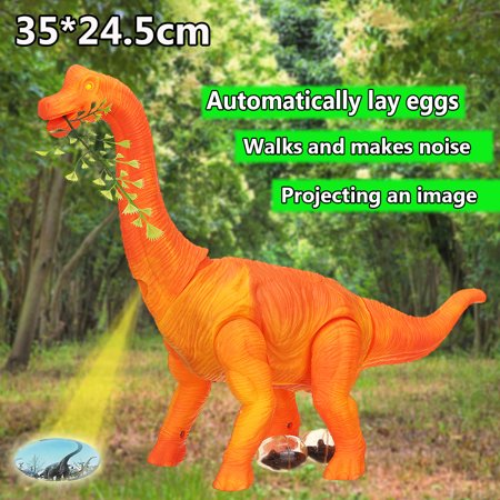 Kids Toy Brachiosaurus Dinosaur Figure Model Battery Operated w/Walking Movement,Laying Eggs,wagging Tail,Light Up Eyes & Sounds,Projection Function - Children Birthday Gifts
