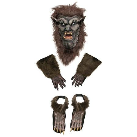 Werewolf Mask Gloves Feet Brown Costume Set Halloween Accessory Set