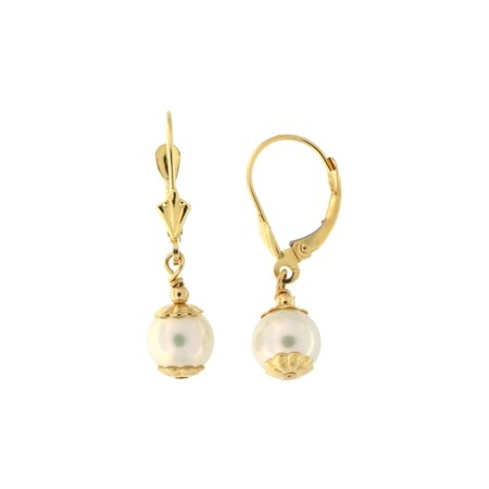 14k Yellow Gold 7mm Freshwater Cultured Pearl Leverback Dangle Earrings with Floral Caps Cultured Freshwater Pearl Floral Design