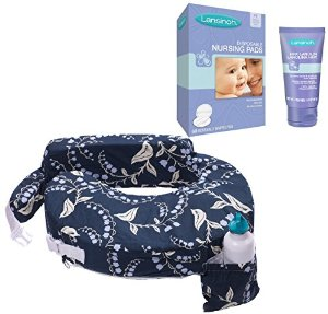 My Brest Friend Original Nursing Pillow with HPA Lanolin & Nursing Pads, Blue Bells by My Brest Friend