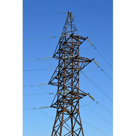 Canvas Print Electricity Power Line Lap Wire Transmission Towers Stretched Canvas 10 x (Transmission Tower)