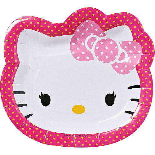 "Hello Kitty 7"" Die Cut Plates, 8 Count, Party Supplies"