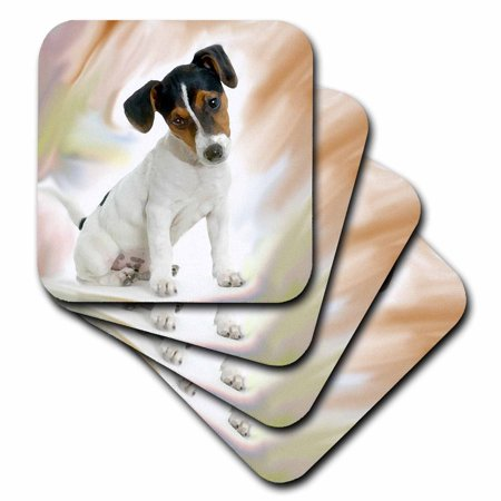 3dRose Jack Russell Terrier, Soft Coasters, set of 4 ()