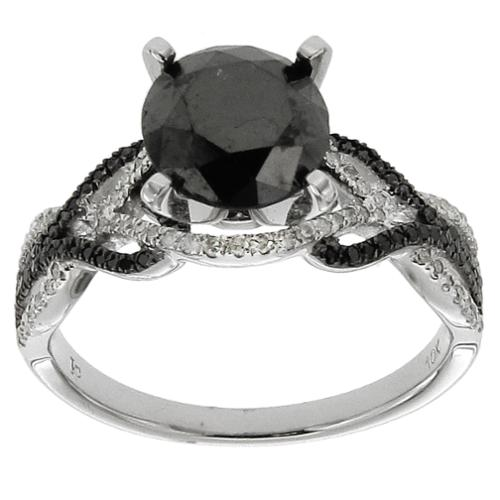 10k White Gold 2 5/8ct TDW Black and White Diamond Ring Size 9