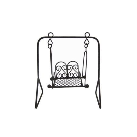 Black Metal Chair Swing Fairy Garden Furniture Dollhouse Landscape Decor Supply ()