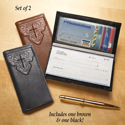 Embossed Cross Design Checkbook Cover with Credit Card Slots - Set of 2