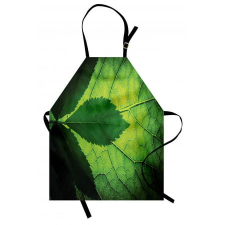 Green Apron Nature Forest Big Amazon Brazilian Tree Leaf with Vein and Sunbeams Image, Unisex Kitchen Bib Apron with Adjustable Neck for Cooking Baking Gardening, Olive and Dark Green, by Ambesonne ()