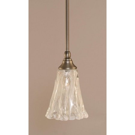 - Toltec Lighting-23-BN-729-One Light Stem Mini-Pendant  Brushed Nickel