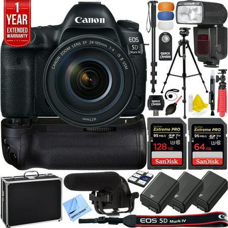 Canon EOS 5D Mark IV 30.4 MP Full Frame DSLR Camera + EF 24-105mm f/4L IS II USM Lens + Pro Memory Triple Battery & Grip SLR Video Recording Bundle - Newly Released 2018 Beach