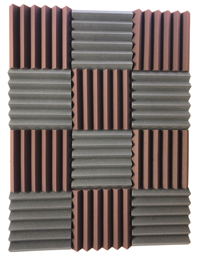 2x12x12 BLUE//CHARCOAL Acoustic Wedge Soundproofing Studio Foam Tiles 12 Pack